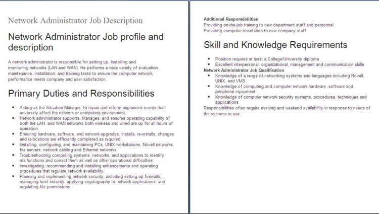 IT job descriptions network administrator job profile and ...