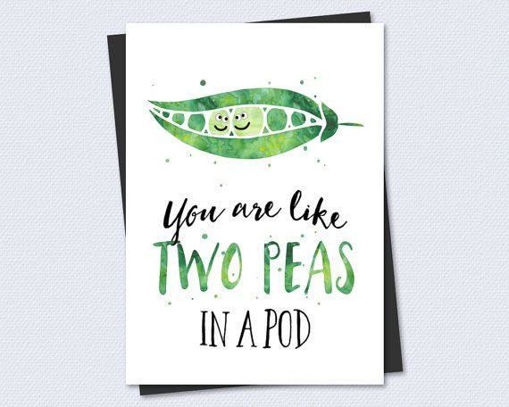 Printable Anniversary / Wedding Card - You are like two peas in a ...