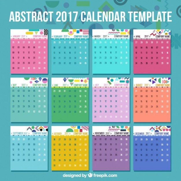 2017 calendar template with abstract details Vector | Premium Download