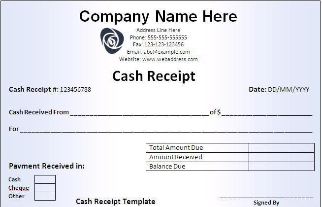 Cash Receipt Template - Word Excel PDF