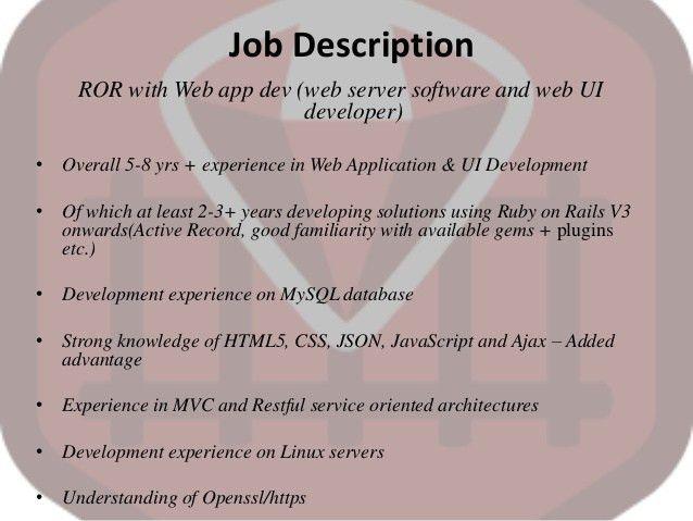 RUBY ON RAILS WEB DEVELOPER JOB