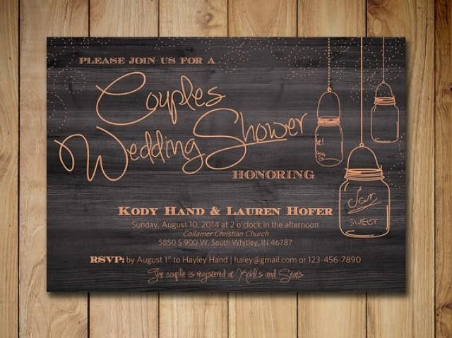 Couples Shower Invitation Mason Jar Wedding Shower Invitation ...