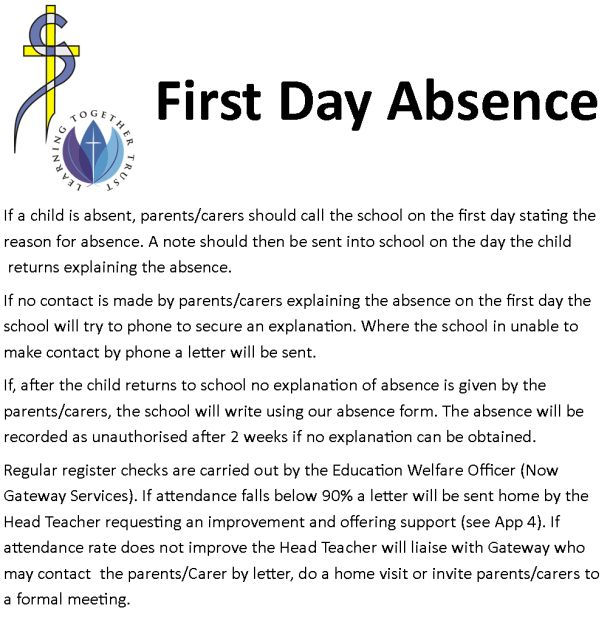 Canon Sharples CE Primary School :: First Day Absence