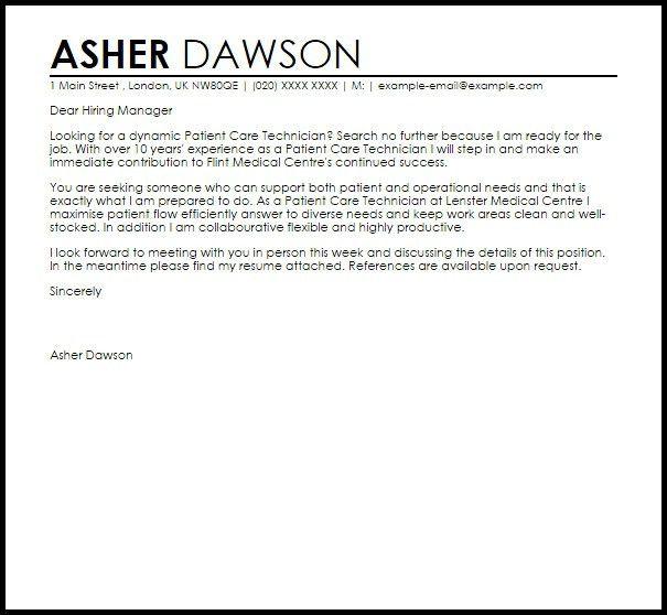 Patient Care Technician Cover Letter | The Letter Sample