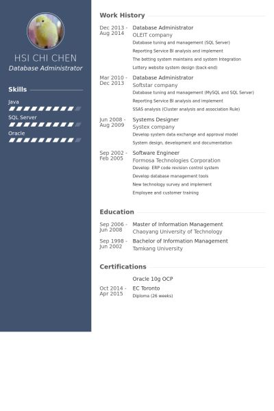 Database Administrator Resume samples - VisualCV resume samples ...