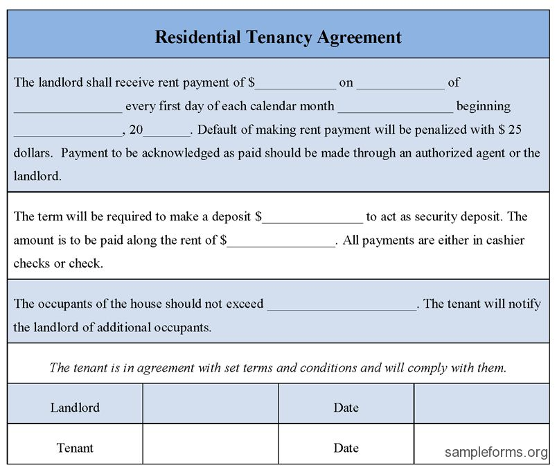 Nice Editable Residential Tenancy Agreement Form Template with ...
