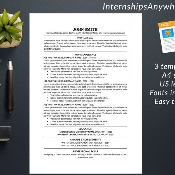 Resume Template / Cover Letter / References Template / Traditional ...