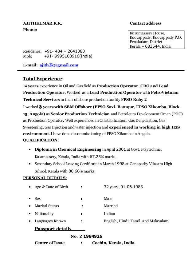 AJITHKUMAR -Lead Production Operator