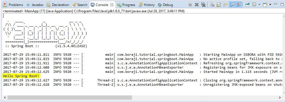 Spring Boot - Creating a standalone application example | BORAJI.COM