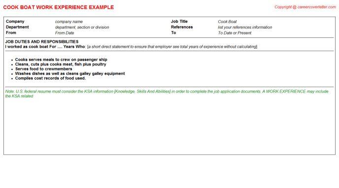 Deep Fat Fry Cook CV Work Experience Samples