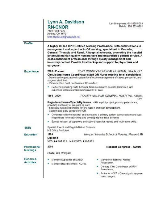 New Grad Rn Resume Template. New Registered Nurse Resume Sample ...
