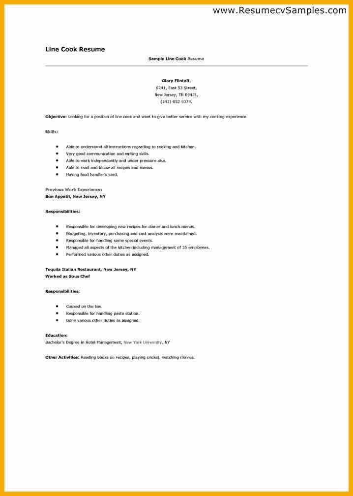 19+ Cook Resume Sample | 7 Line Cook Resume Bursary Cover Letter ...