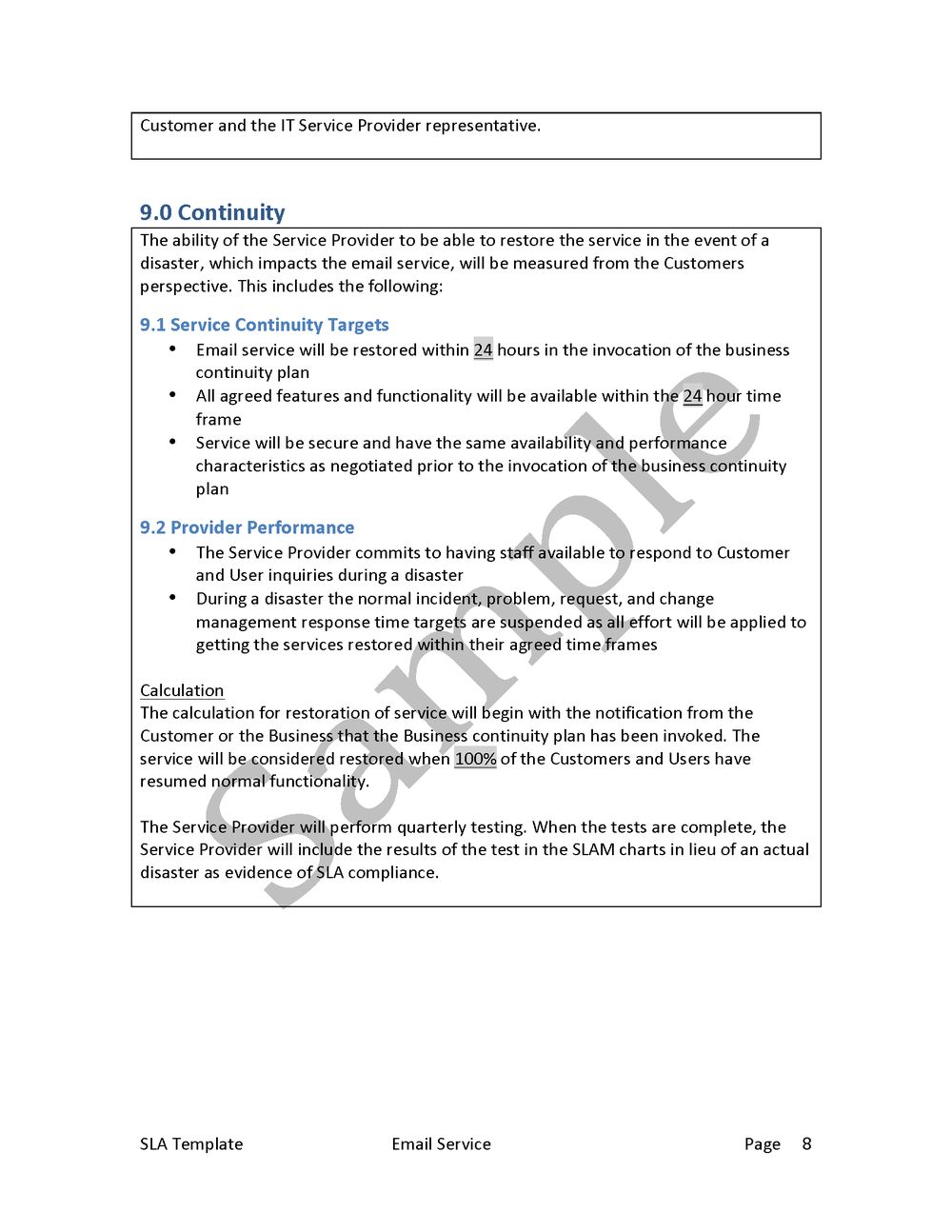 Service Level Agreement Template — Edge IT Training and Consulting Inc