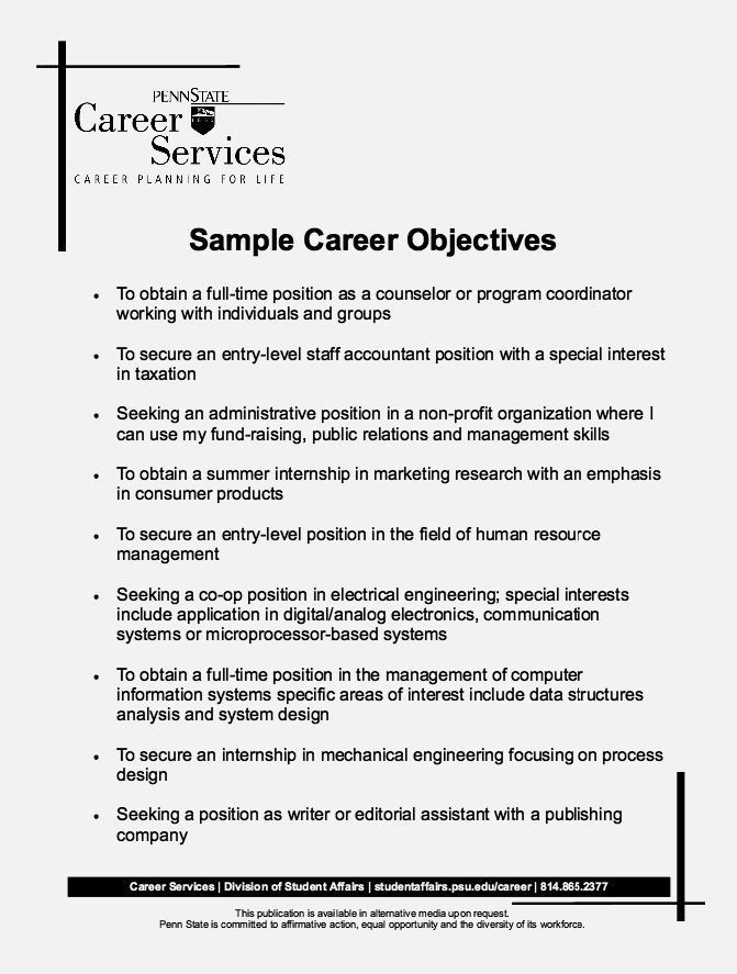 Resume Career Objective Statements [Template.billybullock.us ]
