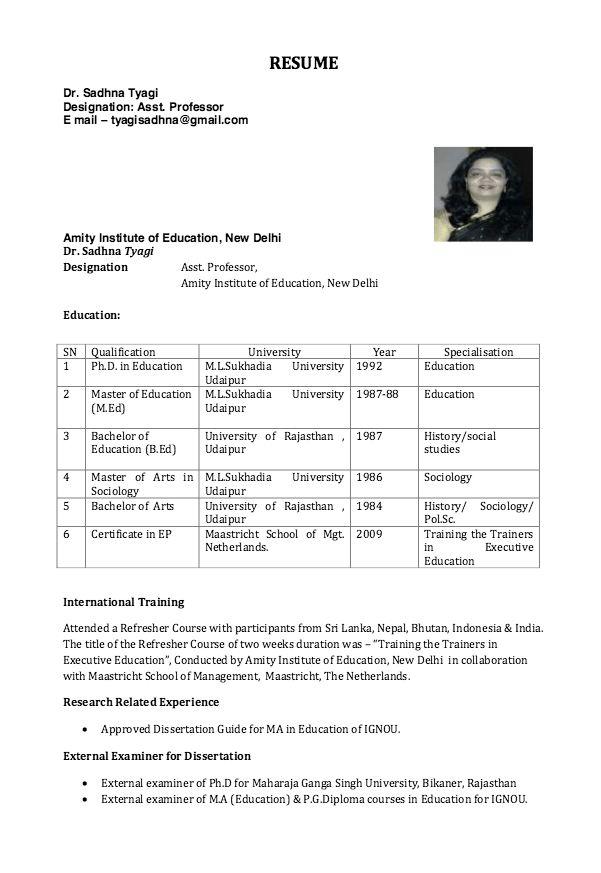 Resume for Assistant Professor - http://resumesdesign.com/resume ...