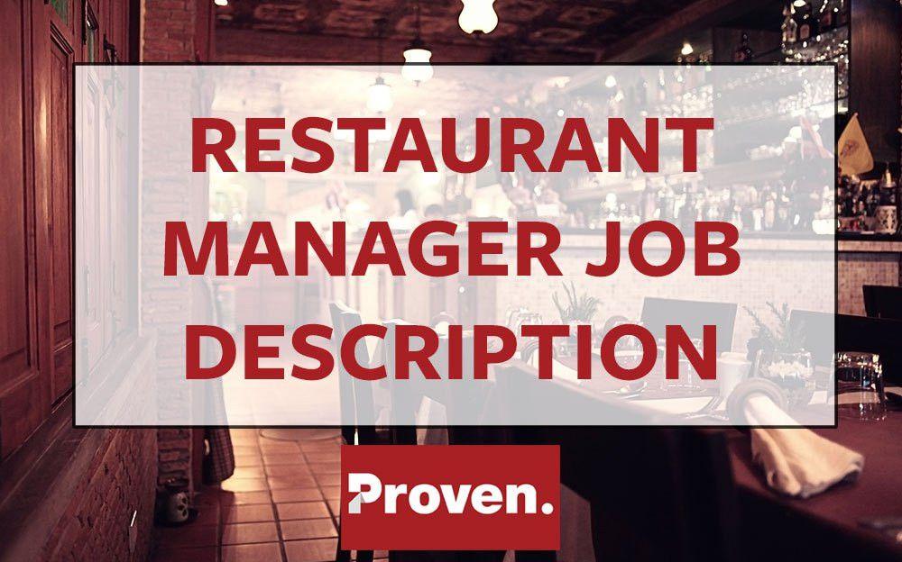 The Perfect Restaurant Manager Job Description