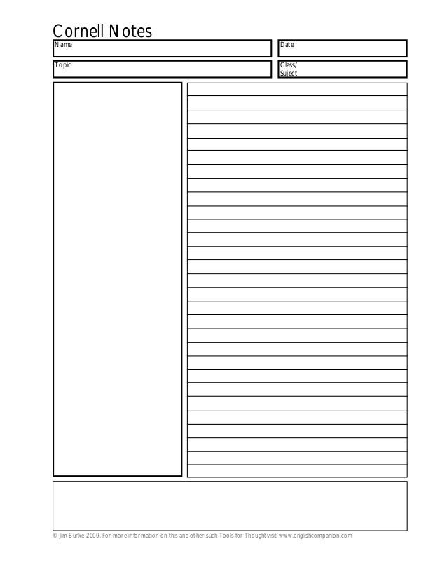 Free Cornell Note Paper | cornell notes intro to cornell style ...