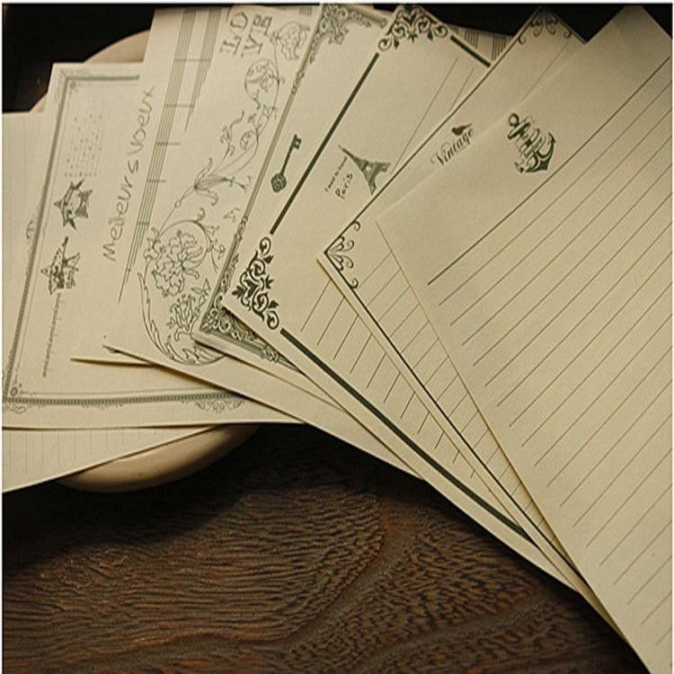 Stationery Classical Vintage Pattern Design Kraft Letter Paper ...