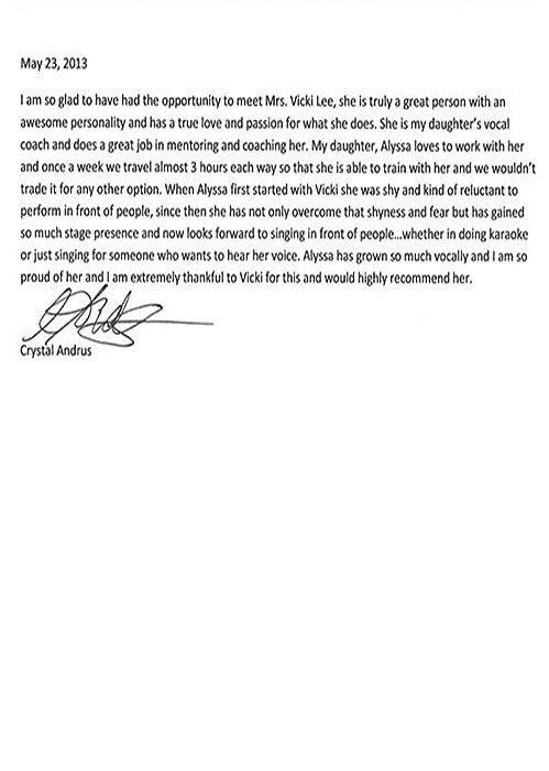 Voice Lesson Testimonial Letters