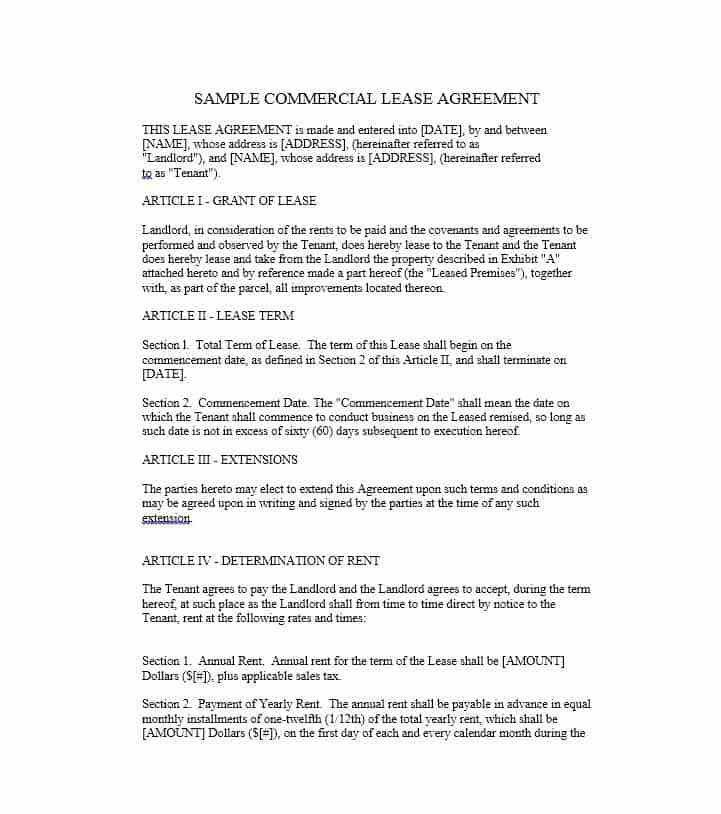 Sample Commercial Security Agreement Template. 10 Best Rental ...