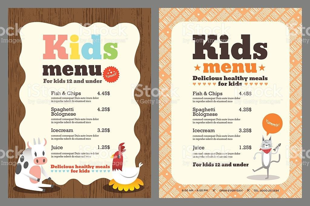 Kids Meal Menu Vector Template stock vector art 483116624 | iStock