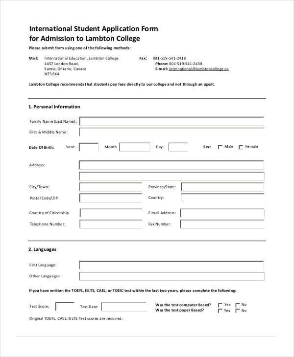 Sample Application Format For School Admission   Language ...