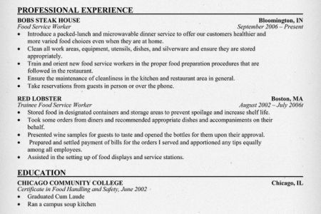 food preparation resume resume sample restaurant management ...