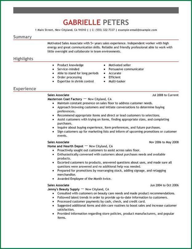 12 Retail Sales Associate Resume | applicationsformat.info