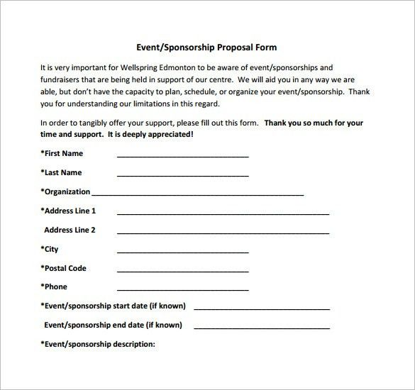 Example Sponsor Form] Sponsorship Form Template Free Printable ...