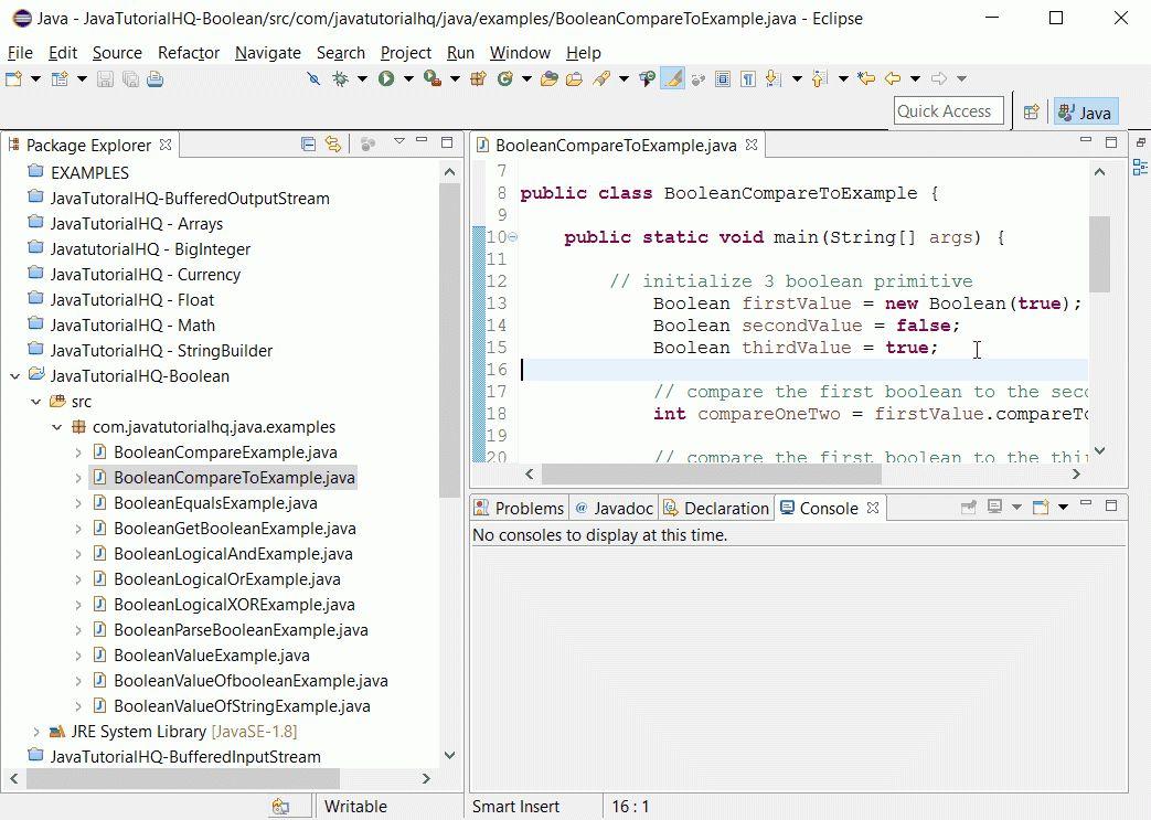 Java Boolean compareTo(Boolean b) method example