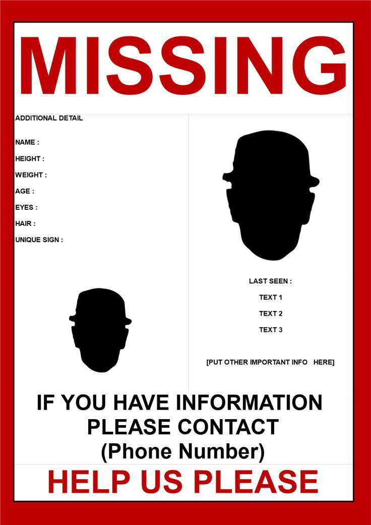 Missing Person Poster Template 2 Images - Missing Person Poster 2 ...