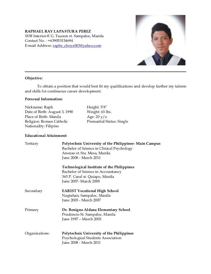 Resume Example Pinoy. Resume. Ixiplay Free Resume Samples