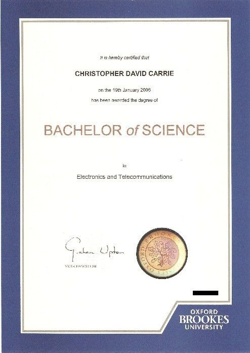 Oxford Brookes Degree Certificate