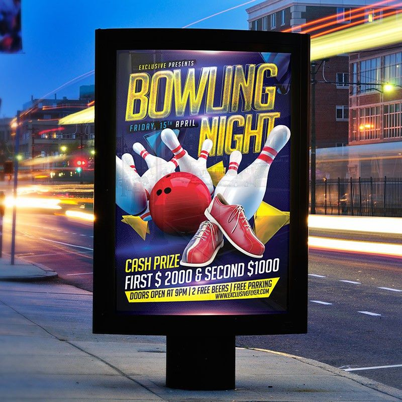Bowling Night – Premium Flyer Template + Facebook Cover ...