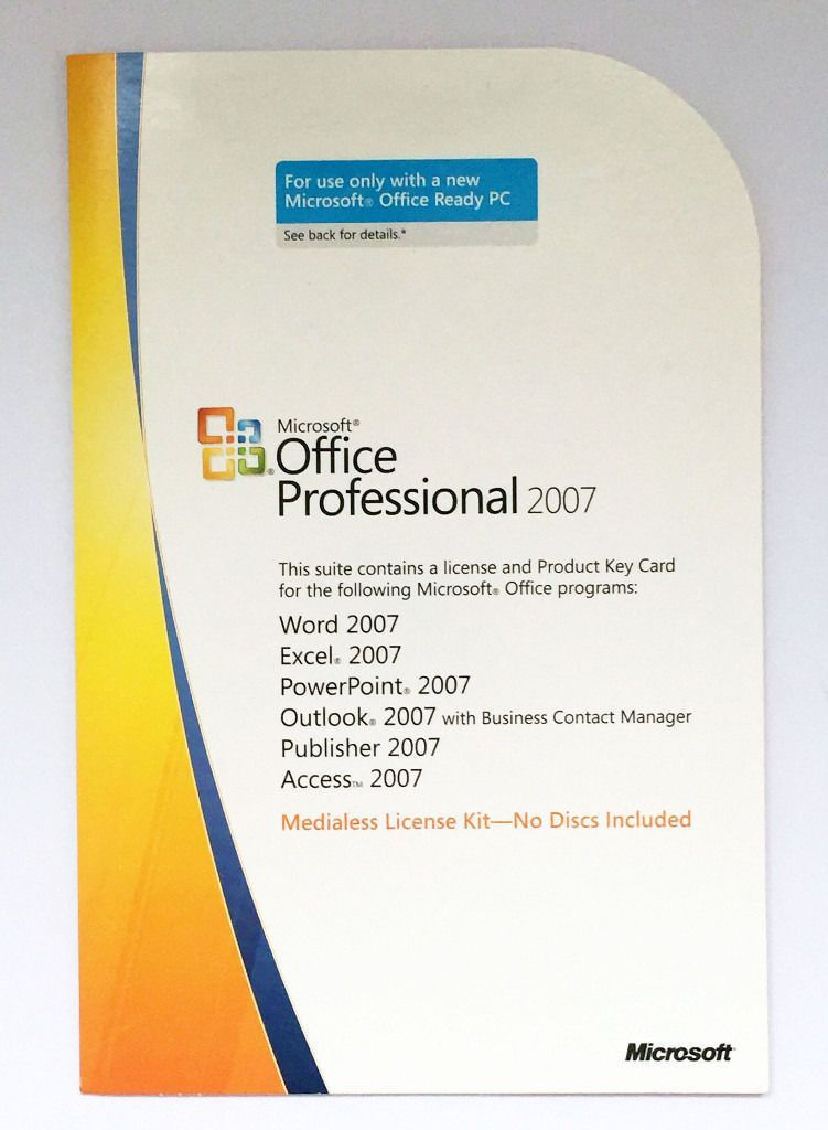 Genuine Microsoft Office Professional / Pro 2007 Product Key Card ...