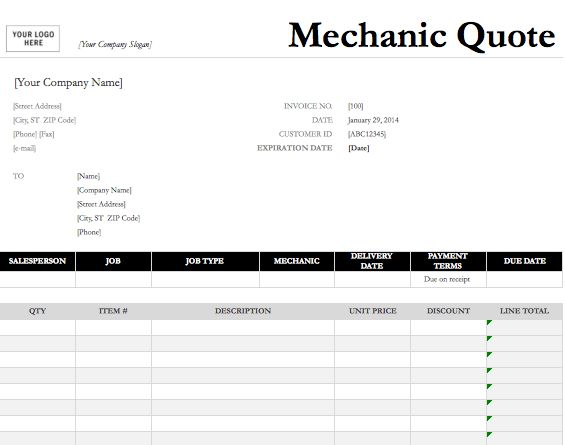 Mechanic Quote Template | Free Quotation Templates