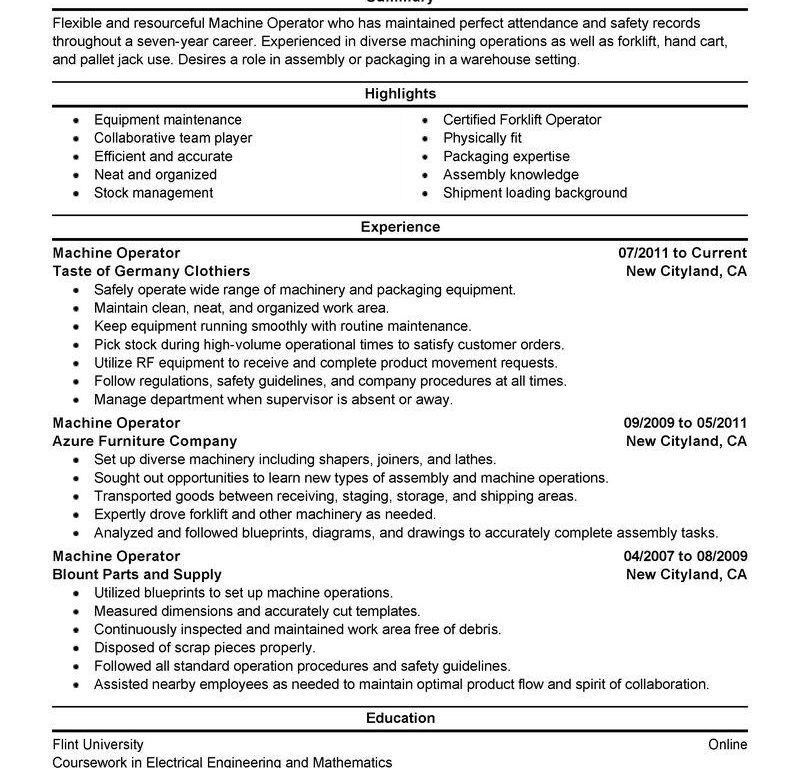 Machine Operator Resume. 18 Machine Operator Resume Sample ...