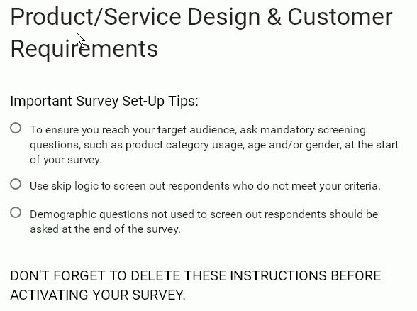 Google Form Template: Product/Service Design & Customer ...