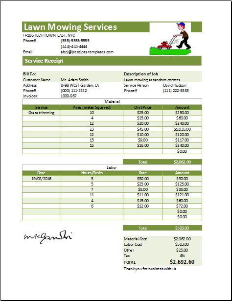MS Excel Printable Lawn Mowing Receipt Template | Receipt Templates