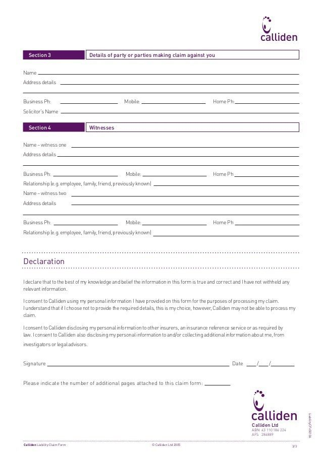 Statewide Insurance - Public liability claim form