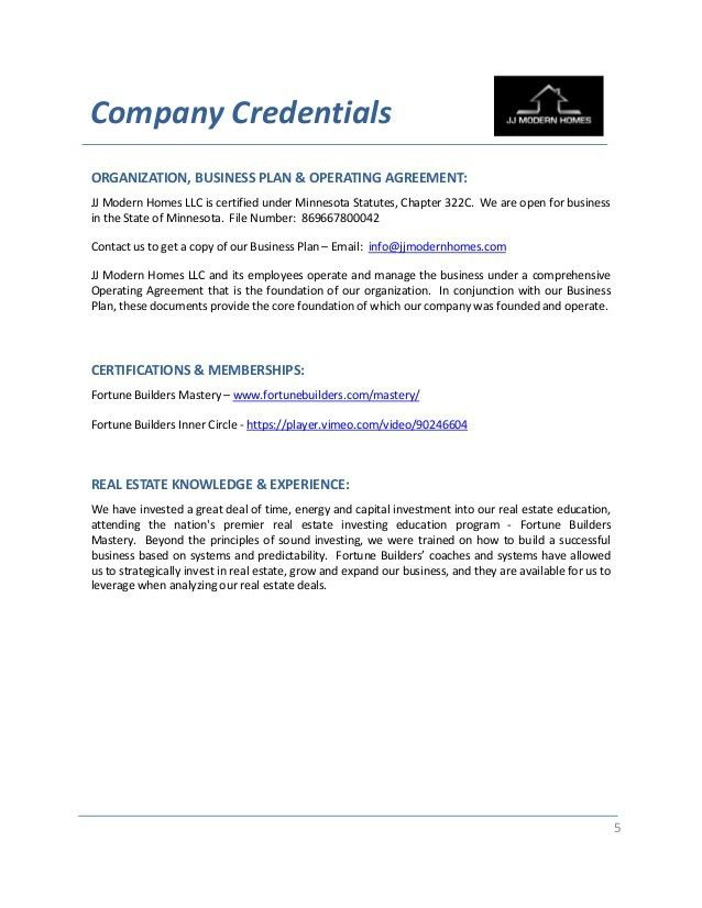Private Money Credibility Packet - JJ Modern Homes