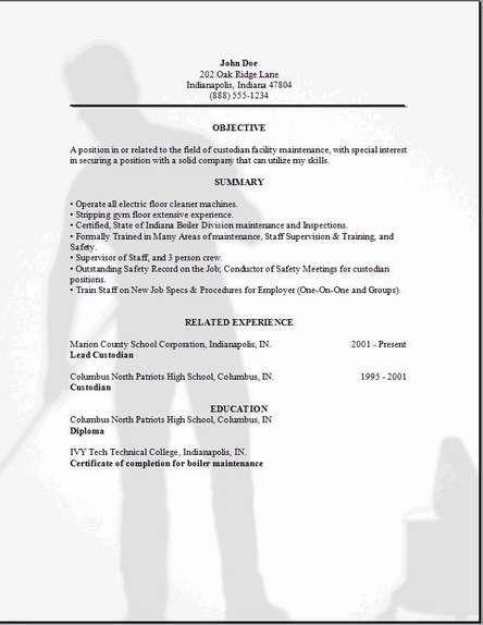 Custodial Worker Resume | Jobs.billybullock.us