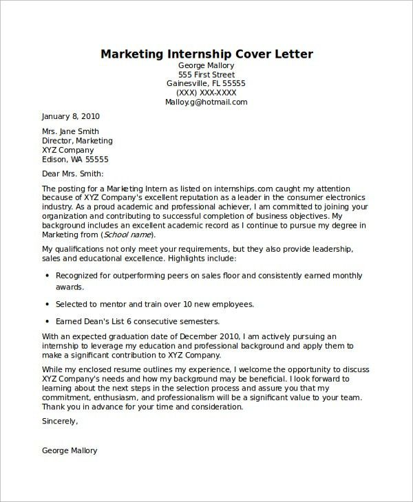 Sample Internship Cover Letter - 7+ Documents in PDF, Word