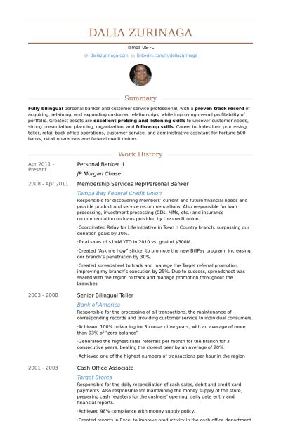 Personal Banker Resume samples - VisualCV resume samples database
