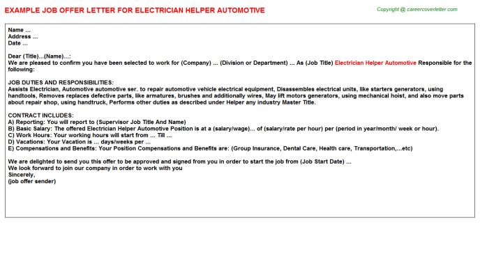Electrician Helper Automotive Offer Letter