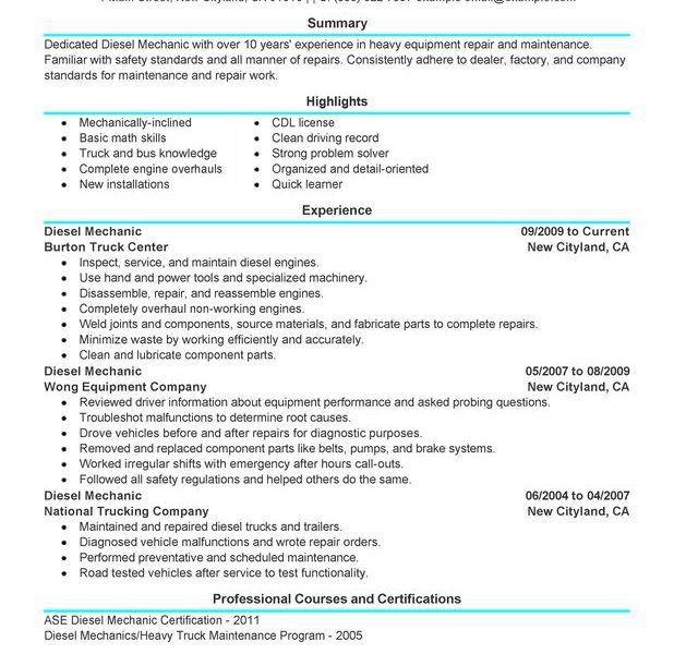 Marvelous Diesel Mechanic Resume Cosy - Resume CV Cover Letter