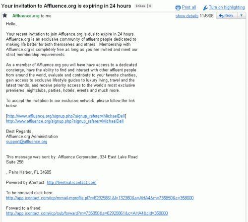 Affluence.org - When In Doubt, Spam. - JayWeintraub.com - Internet ...