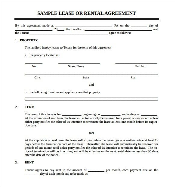 Sample Rental Lease Agreement - 9+ Free Documents in PDF, Word