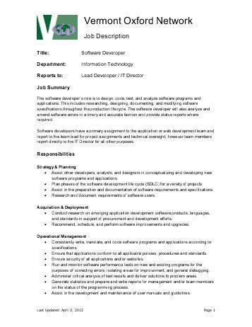 senior software developer job description core solutions. analyst ...