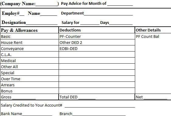 Employee Salary Slip Format Template Excel